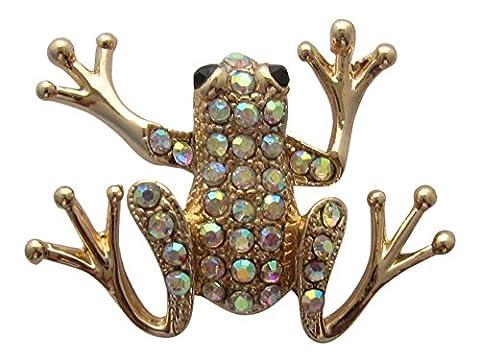 Brosche Boutique Brosche vergoldet ab Kristall Frosch Rainbow Kristall Frosch Brosche Bouquet (Kristall Frog Pin)