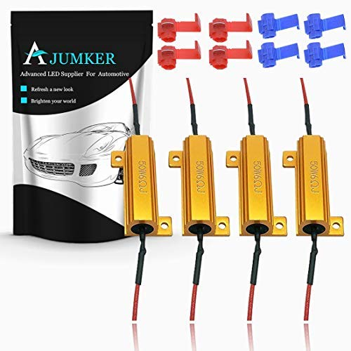 AJUMKER 4pcs 6-Ohm resistenze di carico per LED indicatori di direzione o luci Targa a LED da 50W o DRL (Fix Hyper Flash & Warning Cancellor) con Fili 8PCS Quick