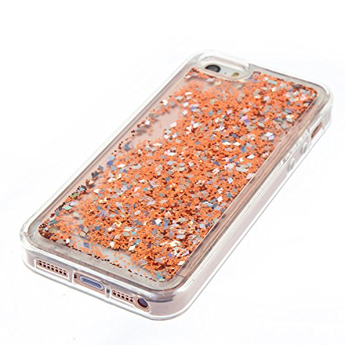 "iPhone 5 / 5S / SE Hülle, iPhone 5C Schutzhülle,Alfort 2 in 1 Universal Edition Treibsand hülle Fashion Design Premium TPU Hohe Qualität Tasche Case Cover für Apple iPhone 5 / 5S / SE / 5C 4.0"" Smartp Gold Diamant Pailletten und Goldsequins Sand"