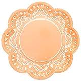 """10 Blumen-Förmige Papp-Teller mit Weißem Spitzen-Perlen-Muster in Orange """"White Lace"""""""