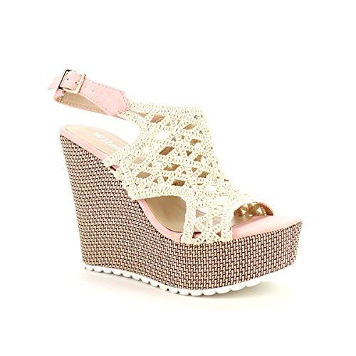 Cendriyon, Compensée Dentelle Crochet WILEDY Chaussures Femme Rose