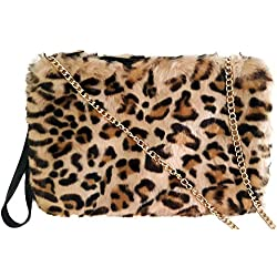 Zadlan Bolsos de mujer leopardo de moda, pequeño, rectangular, de pelo. Bolso de hombro y de mano. Bolso bandolera.