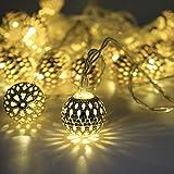 LED Globe Lichterketten, Dekorative Marokkanische Kugeln, 40 Kleine Silber Geschnitzt Globen, Batteriebetrieben mit Timer
