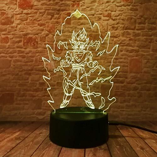 Dragon Ball Z Super Saiyajin Gott Goku Action-Figuren 3D Tischlampe 7 Farbwechsel LED Nachtlicht Baby Schlaf Kinder Spielzeug Weihnachtsgeschenke (Dekorationen Ball Dragon Z-party)