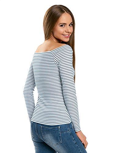 oodji Ultra Damen Langarm-T-Shirt mit U-Boot-Ausschnitt Weiß (1079S)
