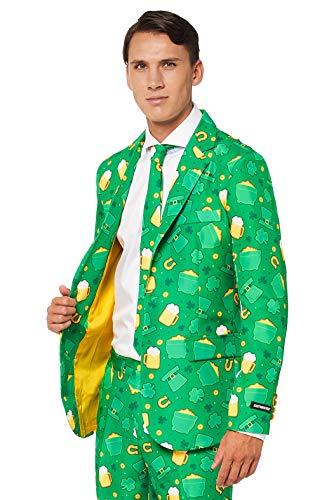 Suitmeister St. Patrick Anzüge für Herren - Mit Jackett, Hose und Krawatte mit Festlichen Print (Herren Green Jacket Suit)