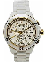 Cerruti 1881Diamond Mujer Reloj 36mm Blanco Oro Tono Dial alta Tech Cerámica