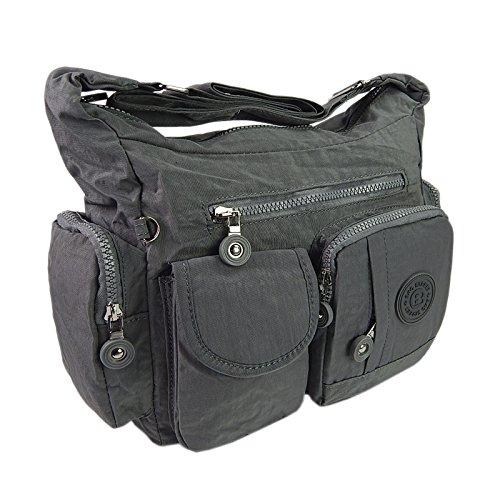 ekavale Leichte hochwertige Damen-Handtasche Umhängetasche aus wasserabwesendem Crinkle Nylon (Grau) Hand Taschen
