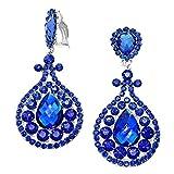 Statement émaillées schmuckanthony longue soirée Bijoux Boucles d'oreilles à clip on Boucles d'oreilles Cristal Bleu Royal Bleu Royal 9,5cm de long