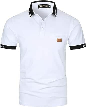 GHYUGR Elegante Polo da Uomo Manica Corta T Shirt Cotone Cucitura Classica Maglietta Commerciale Camicia per L'Ufficio