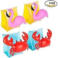 CYCEOS Conjunto de 2 brazaletes hinchables para natación para niños con mangas de flotación, brazo flotador para natación o actividades de playa, Infantil, color Flamingos/Crabs, tamaño talla única