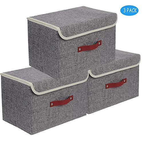 Set de 3 - Boîte de Rangement Pliable de 38*25*25cm,Boîte Range pour Vêtement, Décoration,sous-vêtements,Jouets,Magazine,Petit Trucs,Accesoires Gris