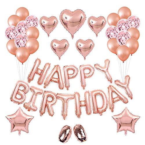 y Ballon Rose Gold Geburtstag Ballon Party Dekoration Konfetti Luftballons Helium Ballon für Ehe, Geburtstag, Party ()