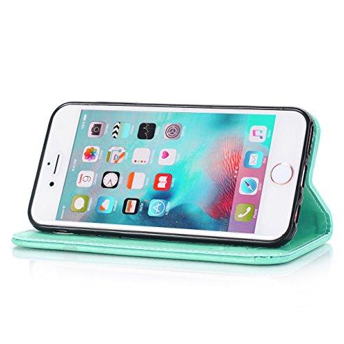 """iPhone 7 Plus Ledertasche Hülle,EVERGREENBUYING - Blumenmuster Handyhülle iPhone 7+ Aufklappbare Leder Schutzhülle im Flip Etui Cover Style Für iPhone 7 Plus 5.5"""" Blau Azurblau"""