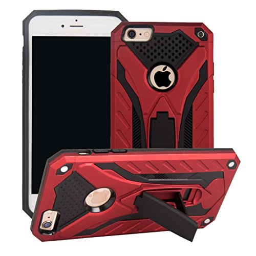 DaYiYang Dual Layer PC + TPU Back Cover Neue stilvolle Hybrid Armor Schutzhülle Shockproof mit Kickstand für iPhone 6 Plus & 6s Plus ( Color : Silver ) Red
