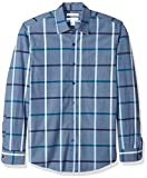 Amazon Essentials Slim-Fit Long-Sleeve Plaid Shirt Button-Down, Denim Large, US L (EU...