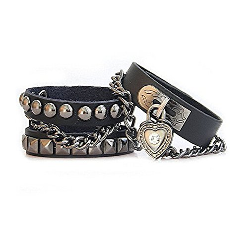 Retro Punk Rock Style Rivet Chain Genuine Leather Wrap Bracelet