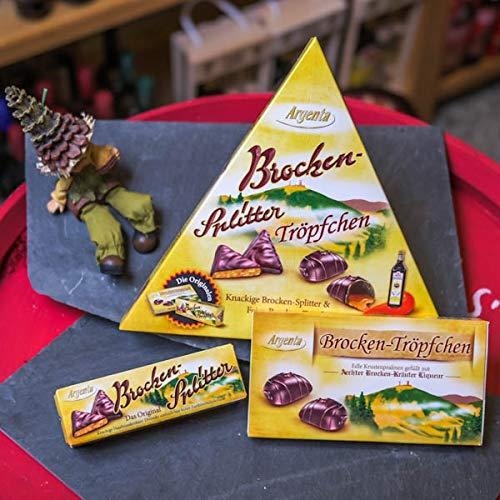 Brocken-Splitter   Schokoladenspezialität mit Krokant und Zartbitterschokolade   Harzer Spezialität