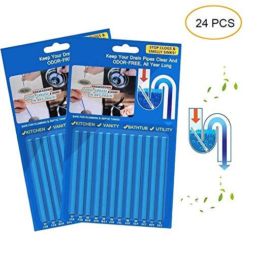 Eulan Drain Sticks Drainstix Drain Stix Drain Cleaner Sticks, 24 PCS Drainstix Clog Remover Sticks Pipe Bathtub Decontamination Stick Cl Drain Openers As Seen On TV -