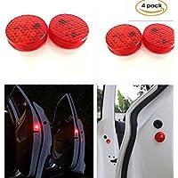 Aviso de puerta de coche abierta con luz roja estroboscópica intermitente LED para abrirlas con seguridad. Luces LED reflectoras y magnéticas, impermeables e inalámbricas con sistema universal de proximimidad con destellos rojos y interruptor instantáneo ON/OFF anticolisión (4 unidades)