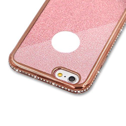 Für iPhone 7 Hülle,Für iPhone 8 Spiegel Hülle Mirror Case,Funyye Luxuriös TPU Handyhülle Gold Plating Silikon Schutzhülle Luxus Glänzend Glitzer Kristall Strass Rahmen Weich TPU Handy Tasche Ultra Dün Diamant,Rose Gold