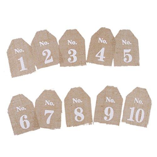 te Vintage Hochzeit Tischnummern 1-10 hessischen Sackleinen Banner Dekor ()