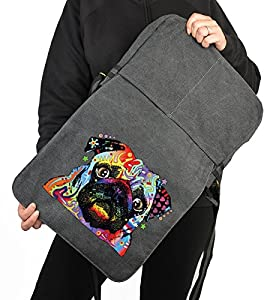 Pop Art Canvas ::: Mops Pug Carlin ::: peppige Umhängtasche mit Art Style Hunde Motiv