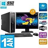 HP PC Compaq Pro 6300 SFF I7-3770 4Go 240Go SSD Graveur DVD WiFi W7 Ecran 17'