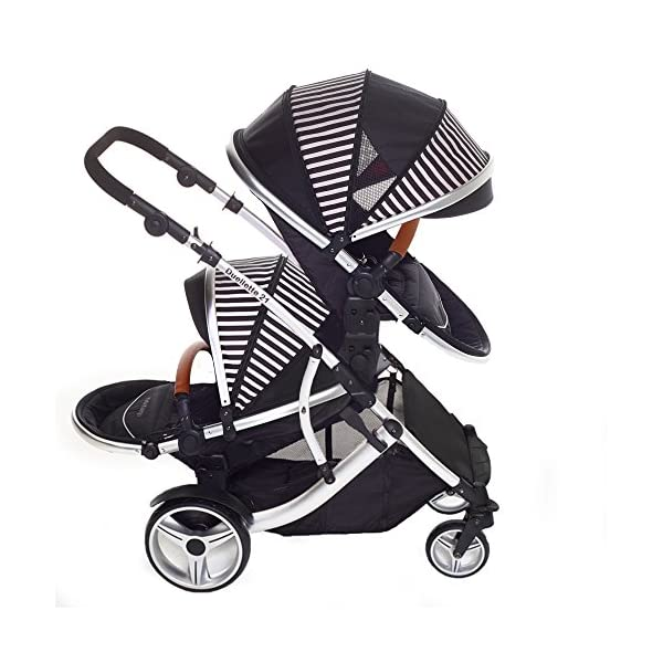 Kids Kargo Duellette 21 Bs Twin Double Pushchair Stroller Buggy with Tan Handle Pack (Oxford Stripe) Kids Kargo Fully safety tested Various seat positions. Both seats can face mum (ideal for twins) Suitability Newborn Twins (if used with car seats) or Newborn/toddler. Accommodates 1 or 2 car seats 2