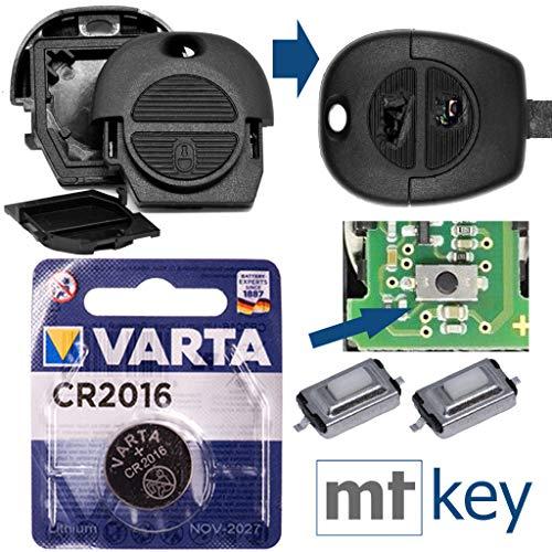Nissan Repair - Kit di riparazione per chiave auto, alloggiamento con 2 tasti + pulsanti + batteria per Nissan Almera Micra II Primera X-T