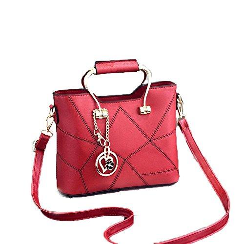 LDMB Damen-handtaschen JQAM süße Dame PU-lederner Schulter-Kurier-Handtaschen-Querschnitt geprägte Einkaufstasche wine red