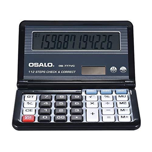 TEDLKU Calcolatrici Calcolatrice elettronica da ufficio Scientifice Caculator Batteria da tavolo pieghevole e calcolatrice solare per studenti di scuola, neri