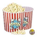 Relaxdays Popcorn Eimer 2er Set, XXL Popcorn Bowl für DVD-Abend oder Party, ca. 10 L, Ø 24cm, wiederverwendbar, rot-weiß