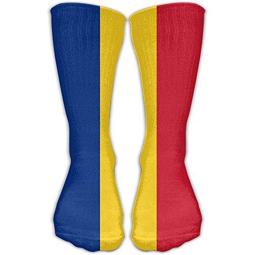 Eybfrre Unisex-Socken mit Flagge von Rumänien über das Knie, 20-30 mmHg, abgestufte Kompression, ideal für medizinische Krankenpflege, Casuel, Wandern, Reisen und Flug, schönes Geschenk