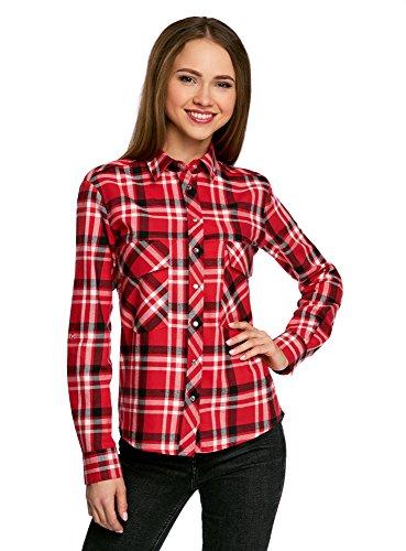oodji Ultra Damen Baumwoll-Hemd mit Brusttaschen, Rot, DE 40/EU 42/L (Mit Shirt Klappe Tasche)