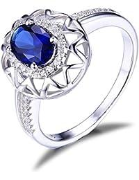 JewelryPalace Mujeres 0.82ct Forma Oval Creado Anillo De Plata De Ley 925 De Plata Esterlina