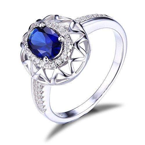 JewelryPalace Gioiello Donna Design Unico 1.2ct Creato Zaffiro Blu Anello di Fidanzamento Argento Sterling