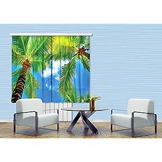 AG Design Palmen Gardine/Vorhang, 2 Teile, Stoff, Multicolor, 180 x 160 cm