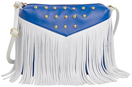 Mammon women's PU leather sling bag Blue White (stud-bw,Size:11x9 inches)