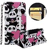Brieftasche Hülle für Galaxy S10,Gürtel Lederhülle für Galaxy S10,Moiky Stilvoll Süß Panda Prägung Malerei Geprägt Kratzfest Magnetverschluss Stand Kartenfächer Handyhülle