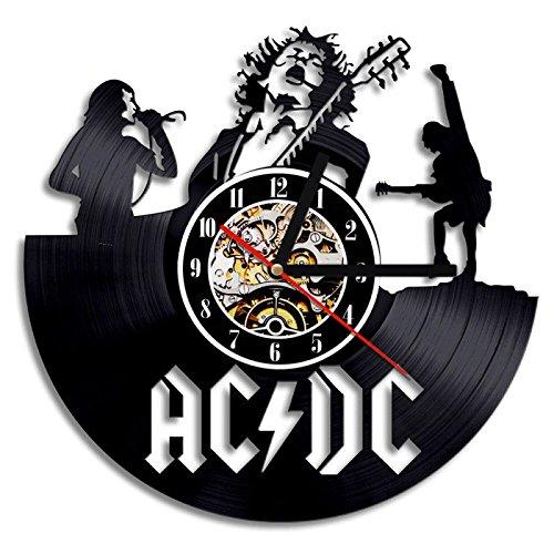 NUOVO!AC DC Rock and Roll Band Musica Vinyl Record Orologio da parete Modern Silent Grande decorativo a batteria Art Home Decor-2018 Hot Cool regalo per la musica Lover Singer Natale e fidanzat