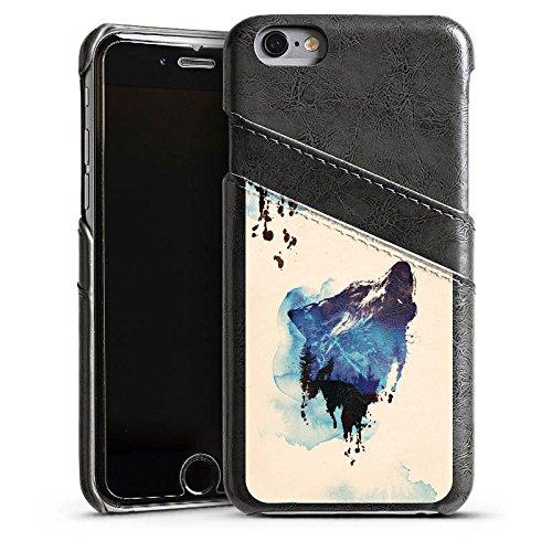 Apple iPhone 5s Housse étui coque protection Loup Illustration Graphique Étui en cuir gris