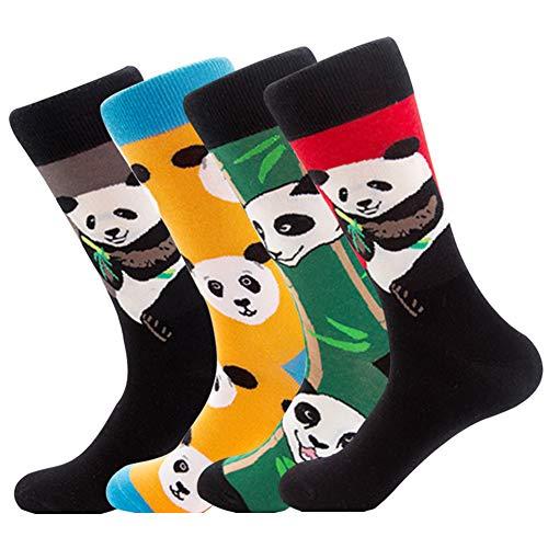 YANGTE Herren Socken Bunt Gemusterte -4 Pair Neuheit Art Argyle mit Lustige Wadensocken Unisex, Baumwolle, Bedruckte Crew-Socken, Fun Socks für Herren und Damen (Panda)