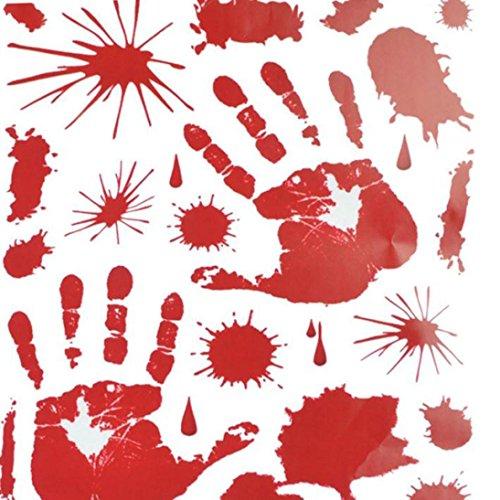 Rosennie DIY PVC Wandaufkleber Halloween Blutbefleckt Aufkleber Home Halloween Glaswand Blut Dekoration für Halloween Party Oder Wohnzimmer 43 * 30cm Fußabdruck Hand Print (Rot)