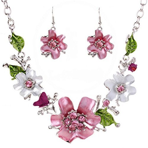 Wensltd Lady women Fashion Sweet Temperament Wild flowers Diamond Necklace Set