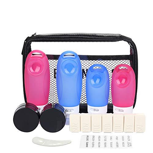 Set de Botellas de Viaje, Gearlifee Envase líquido de Silicona Leak Proof Bpa Free TSA Approved,con Ventosa,Etiquetas y Bolsa de Viaje para champú,loción,artículos de tocador,cosméticos (3 oz + 2 oz)
