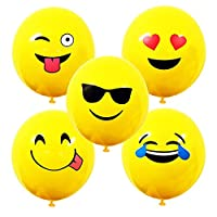 """Most Popular Fun Yellow 10"""" Emoji Balloons Five Different Designs and Emoji Stickers for Boy"""