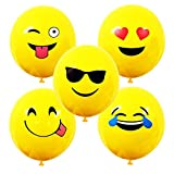 "Most Popular Fun Yellow 10"" Emoji Balloons Five Different Designs for Boy's and Girl's Birthday Parties, Special Occassion's (Pack of 10)"