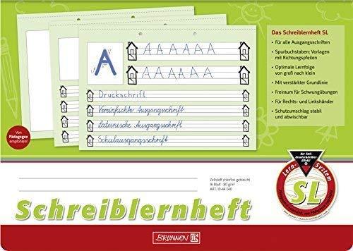 Schreiblernheft SL, A4 quer, 16 Blatt - Brunnen - 10-44 040 -Lineatur SL / Nr. SL - Untergrund grün