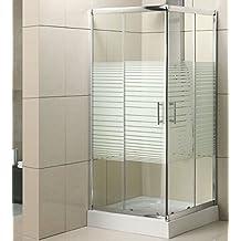 Mondodoccia - Mampara de ducha, de 70x 90, decristal serigrafiado, mod. Katariina